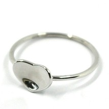 SOLID 18K WHITE GOLD HEART RING, ONDULATE, BENT SMOOTH HEART image 2