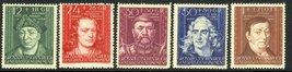 1944 Cultural Figures Set of 5 Poland Postage Stamps Catalog Number NB36-40 MNH