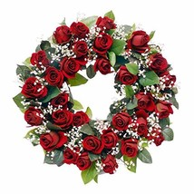 Wreaths For Door Red Rose Wreath with White Babys Breath Classic Timeles... - $70.34