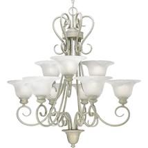 Venetian Gold Chandelier Progress Lighting P4045-18 White Alabaster Styl... - €399,81 EUR
