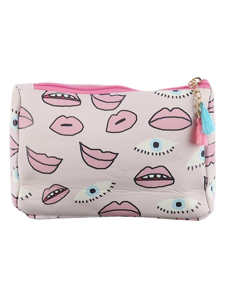 Eye Lip Print Cosmetic Makeup Bag or Pouch Wallet
