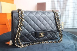 AUTHENTIC CHANEL BLACK QUILTED CAVIAR JUMBO CLASSIC DOUBLE FLAP BAG GHW image 2