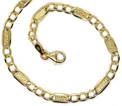 Bracelet or Jaune 18K 750, Gourmette et Plaques, Lavoration Bulles, 4 MM image 2