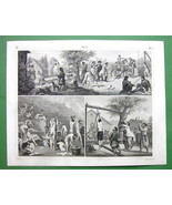 RUSSIA Daily Life Public Baths Punishemnt Games - 1844 Engraving Antique... - $19.09