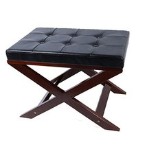 Zoned For You Upholstered X Bench Ottoman in Black and Cream Color (black) - $69.98