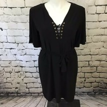 Spense Womens Sz 14 Dress Black Short Sleeve Lace-Up Belted Shift  - $19.79