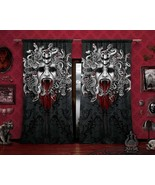 Goth Medusa Curtains, White Snakes, Gothic Home Decor, Window Drapes, Sheer and  - $164.00 - $182.00