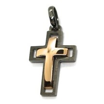 SOLID 18K BLACK & ROSE GOLD DOUBLE CROSS, 0.9 INCHES, MADE IN ITALY SMOOTH SATIN image 1