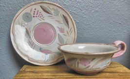 "Mid Century Cup and Saucer  Made in GermanyBird 6"" Saucer Pink and Brown - $15.00"