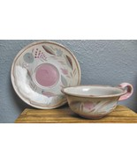 """Mid Century Cup and Saucer  Made in GermanyBird 6"""" Saucer Pink and Brown - $15.00"""