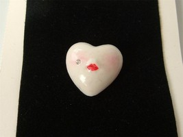 Vintage Adagio Porcelain Face Lips Heart Brooch Pin Hand Crafted on Card 1983 - $24.70