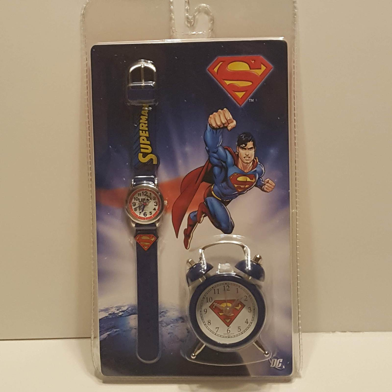 Primary image for Set Superman watch and alarm clock. New , sealed.  UPC 7300000360351