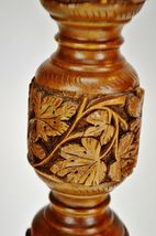 Vintage Hand Carved Turned Wood Table Lamps - A Pair image 9