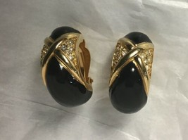 Swarovski Crystal Marked Earrings Black Enamel Gold Tone Clip On Earrings - $21.77