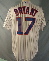 Kris Bryant #17 Chicago Cubs MLB Jersey Mens M Sewn Majestic Pin Stripe White - $37.62