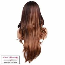 """Ama 26"""" Ombre Synthetic Wigs 1B/Blonde Dark Roots Long Wavy Synthetic Lace Front image 2"""