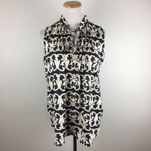 LOFT Ann Taylor Gray Floral Tie Neck Sleeveless Blouse Shirt Size XS Ext... - $15.11
