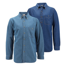 Men's Cotton Denim Long Sleeve Button Up Collared Classic Casual Dress Shirt