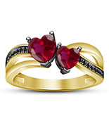 Ladies Wedding Ring Heart Shape Pink Sapphire 14k Yellow Gold Plated 925 Silver - $75.66
