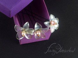 Pearl Forget Me Nots (Set of 3) White Bridal Flowers Hair Pins Kanzashi ... - $14.00