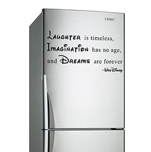 (24'' x 13'') Vinyl Wall Decal Quote Laughter is Timeless, Imagination has no Ag - $19.37