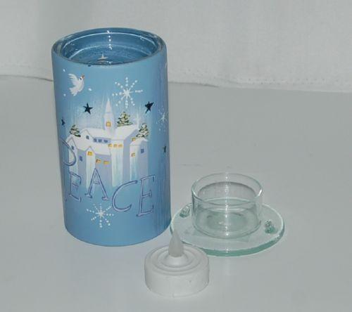 Roman Inc 39141 Three Peice Tealight Candle Holder Blue White Church Peace