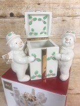 Mikasa Ribbon Holly Porcelain Snowmen Covered Box w/Hinged Lid w/origin... - $25.19