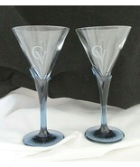 House of Courvoisier Cognac (3) Crystal Martini Glasses With Blue Tulip ... - $12.43