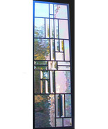 Stained Glass Window Panel transom or sidelight -clear iridescent water ... - $97.00