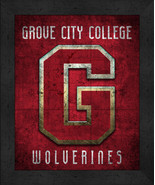"Grove City College Wolverines ""Retro College Logo Map"" 13x16 Framed Print  - $39.95"