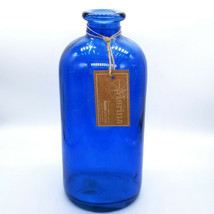 Home Essentials Marina Bottle Blue Glass Tinted Nautical Decor Flower Ja... - $13.49