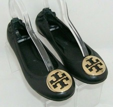 Tory Burch Reva black metal gold round toe slip on scrunch ballet flats 8M - $80.05