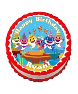 Baby Shark party decoration round edible party cake topper cake image - $7.80