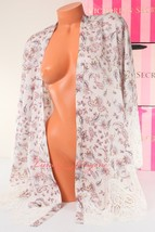 VS VICTORIA'S SECRET Lounge Peignoir Robe Poncho Open Front Satin M / L ... - $31.99