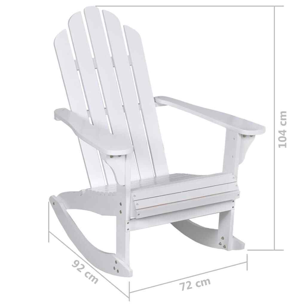 vidaXL Garden Rocking Chair Wood White Rocking Chair Hardwood Firwood Seat image 6