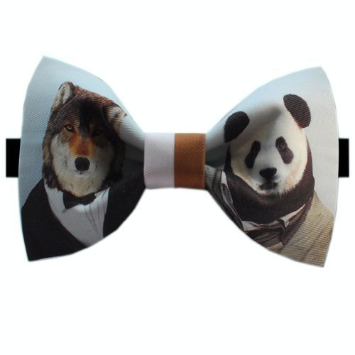 Trendy Panda&Wolf Patterned Bow Tie Men Ties Neckties Party Novelty Bow Ties 7CM