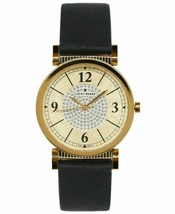 Lucky Brand Women's Crystal Dial Carmel Navy Leather Strap Ladies Watch 34mm NEW - $47.49
