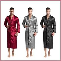 Black Gray And Wine Men's Long Sleeve Belt Tie Faux Silk Satin Bathrobe  image 2