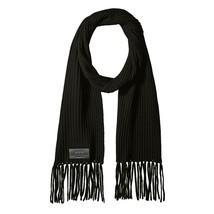 John Varvatos Star USA Men's 2x2 Ribbed Merino Wool Scarf Long Fringe Black - $59.12