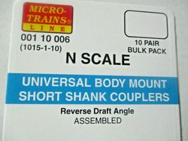 Micro-Trains Stock #00110006 (1015-1-10) Short Shank Assembled Couplers 10/Pack image 3