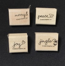Stampin' Up! PERFECT ENDING 2006 Retired Set of 4 Rubber Stamps Merry Jingle Joy - $17.81
