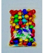 100 CHRISTMAS JINGLE BELLS Bright Jewel COLORS 10mm -12mm  Drops Beads C... - $5.44