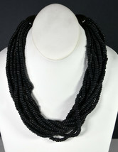 "19"" Vintage Black Wooden Beads Hand Made Indian Chain Necklace Tribal Folk Art  - $18.99"