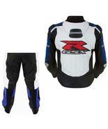 SUZUKI 1078 GSX BLUE MOTORBIKE MOTORCYCLE COWHIDE LEATHER ARMOURED 2 PIE... - $339.99