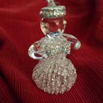 HAND BLOWN GLASS CHRISTMAS ORNAMENT SNOWMAN with Bowtie - $4.90