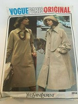 Vogue Paris Original Yves Saint Laurent Sewing Pattern 2814 Vtg Coat Dre... - $24.99