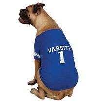 Zack & Zoey Blue Americana Pet Varsity T-Shirt, Size L - $9.89