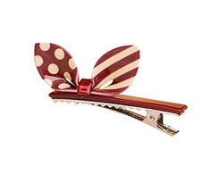 Set of 2 Rabbit Ear Hair Pin Fashion Hair Clip/Hairpin,Red/White image 2