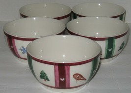 """5 Pfaltzgraff Holiday Christmas 5 5/8"""" Round Soup Cereal Bowls - $18.81"""