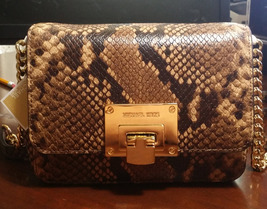 Michael Kors Tina Convertible Crossbody Embossed Leather Clutch Bag Caramel Nwt - $126.72